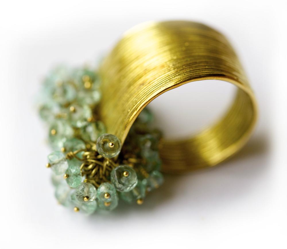 Gurmit's Zen Garden ring in 18 carat gold and emerald.