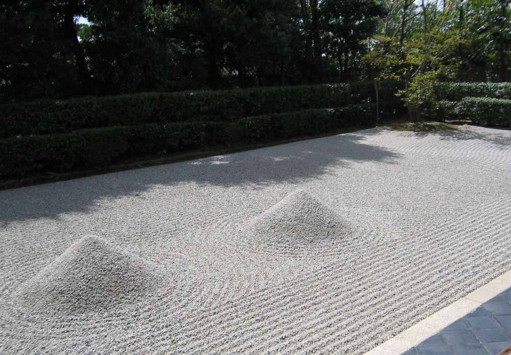 "The white gravel ""ocean"" of the garden of Daisen-ji, to which the gravel river flows."