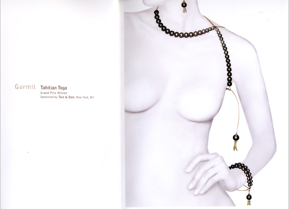 Gurmit's Toga necklace in yellow gold and Tahitian pearls.