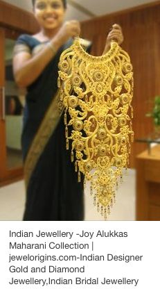 Indian bridal necklace in 24 K gold from the Joy Alukkas Maharani Collection. Incredible!!