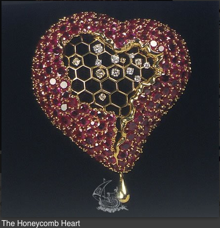 "Ruby and diamond ""Honeycomb Heart"" brooch"