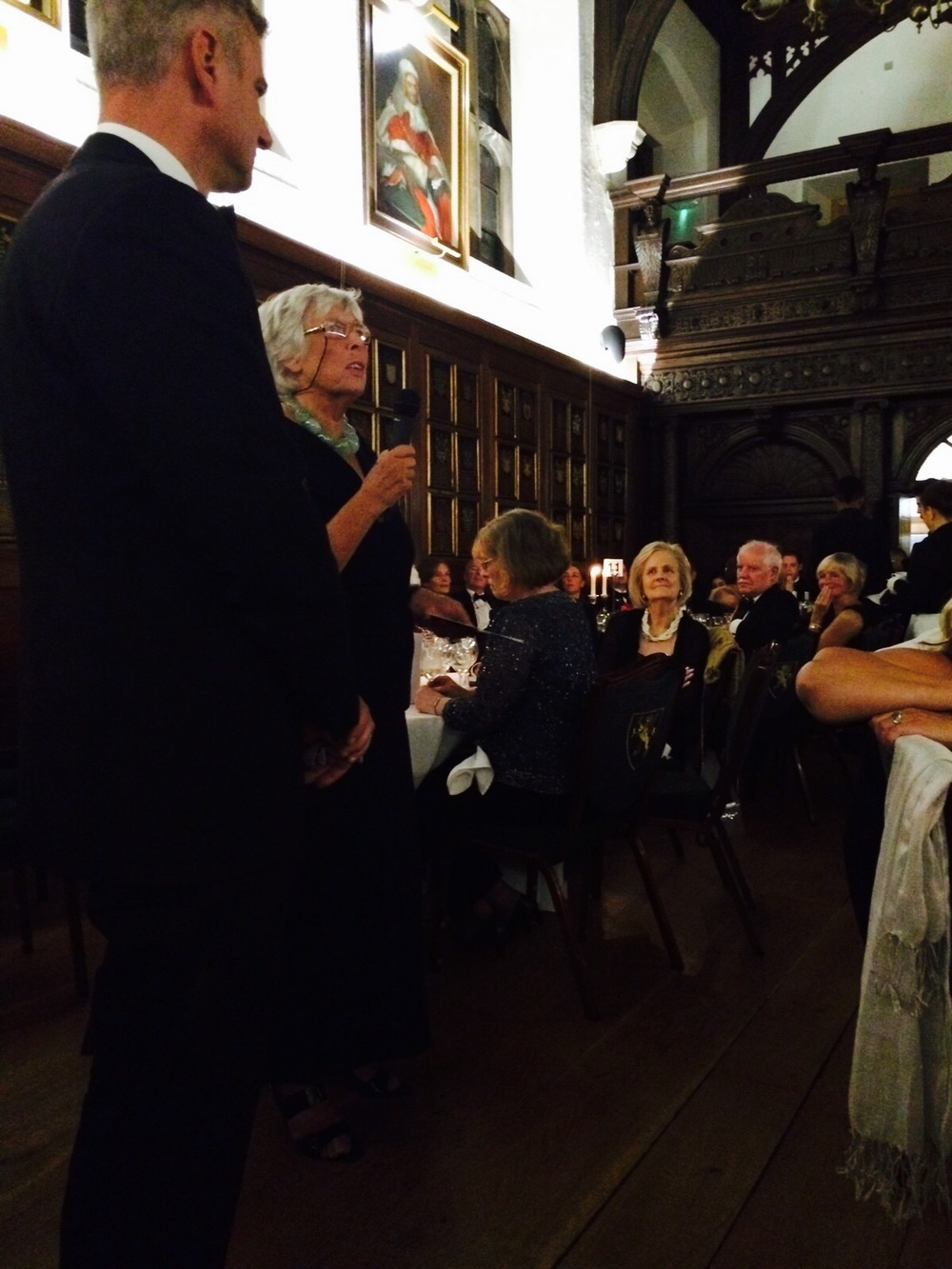 Auctioneer with SOS!SEN founder Marion Strudwick at the historical site of The Honourable Society of Gray's Inn.