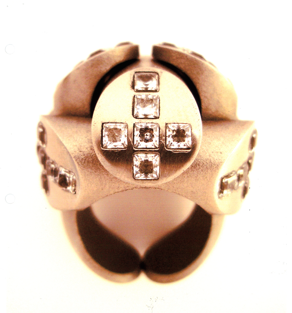 Prototype of Gurmit's Puzzel steel ring and crystals for Swarovski.