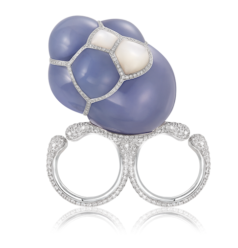 Gurmit's chalcedony Bubble Ring in white gold, south sea pearls, diamonds and chalcedony inspired by structures of soap bubbles.