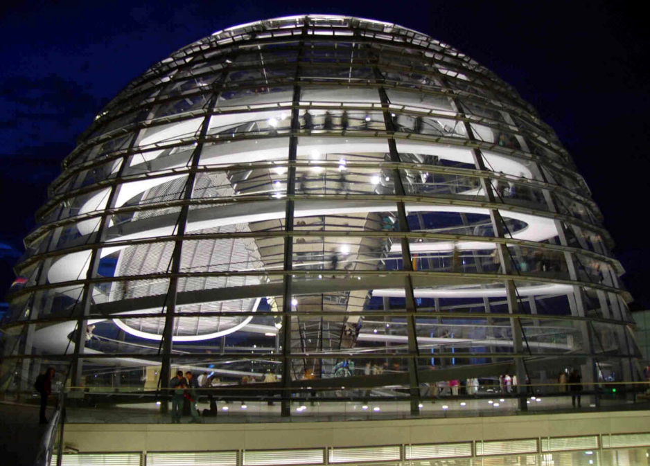 Norman Foster's architecture of the Reichstag in Berlin.