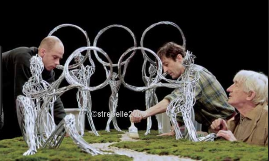 Artist Olivier Strebelle in the preparation in his team in his studio in Brussels for the model of 246.8-metre-tall (810 ft ) for the Olympic Park Observation in the Parks, gardens and landscapes in urban Beijing completed  and opened in 2014. The Olympic Park Observation in  Parks, gardens and landscapes in urban Beijing.