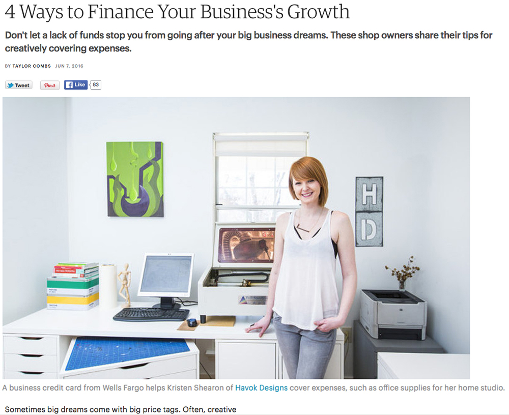 Featured in the Etsy Success Seller Handbook article on financing and business growth, June 2016