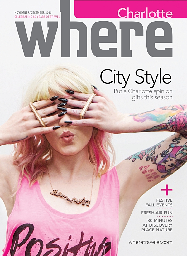 Cover of the Charlotte Edition Nov - Dec 2016 Issue of Where Traveler Magazine / Photo by Kate Walser / Model Kenzie Hamilton