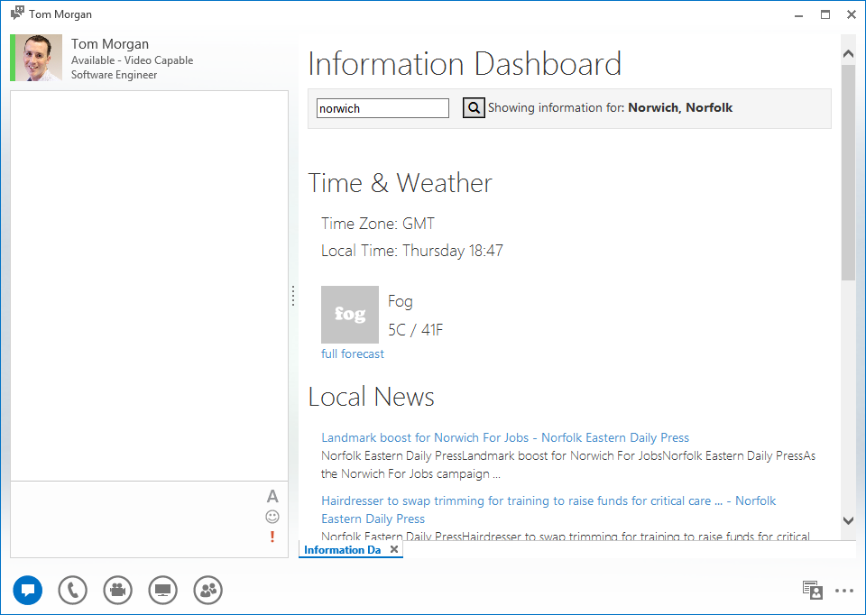 Information Dashboard for Microsoft Lync 2013