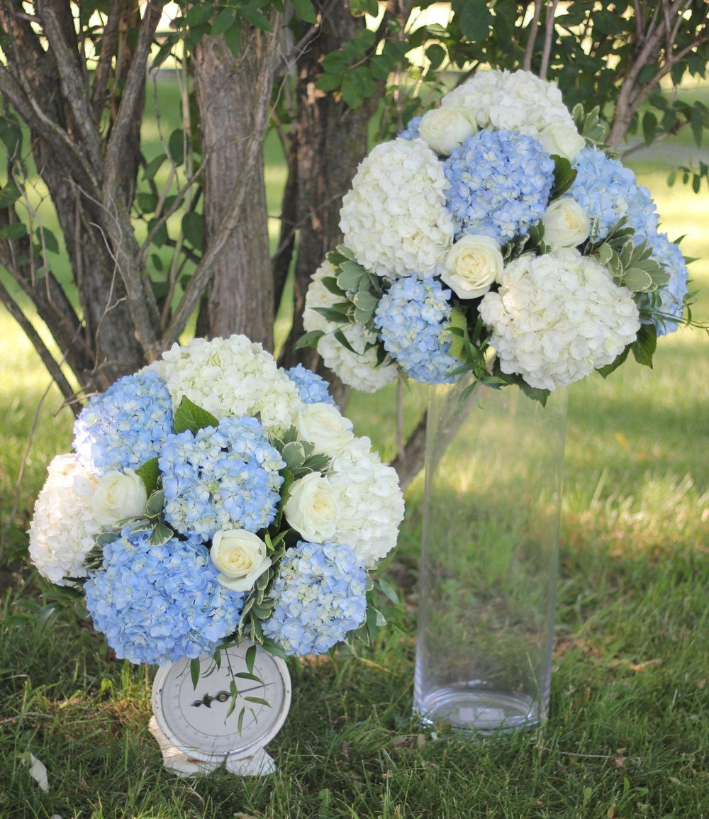 white hydrangea alter arranangments