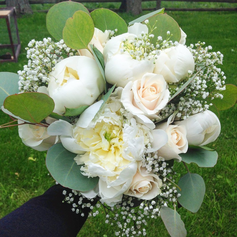 White Bridal Bouquet (peonies, cream roses, babies breath)