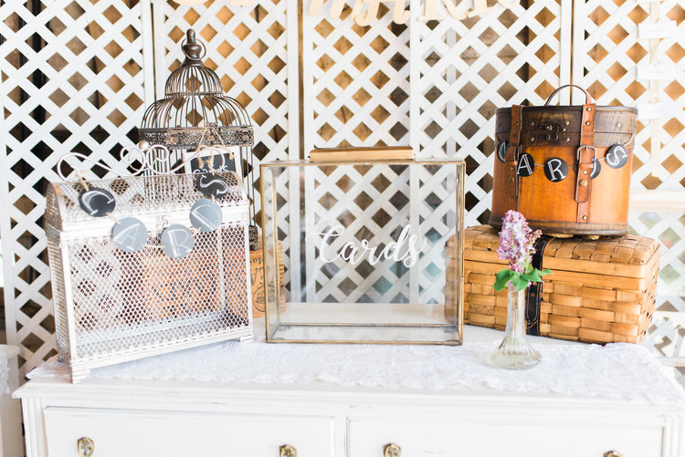 Card Boxes: Birdcage $20,  Silver Metal $20, Copper Glass $40, Wood Basket $15