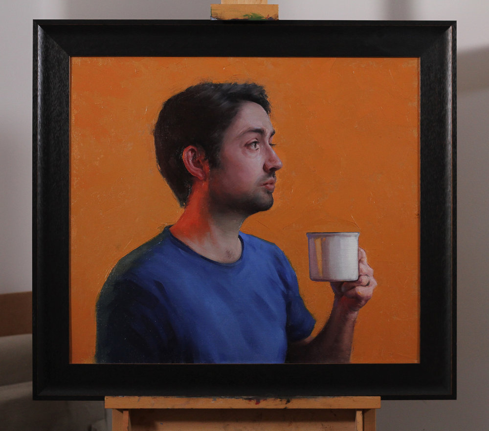 "'What Do Artists Do All Day?' (a self-portrait) - 2017 - oil on linen - 30"" x 26"""