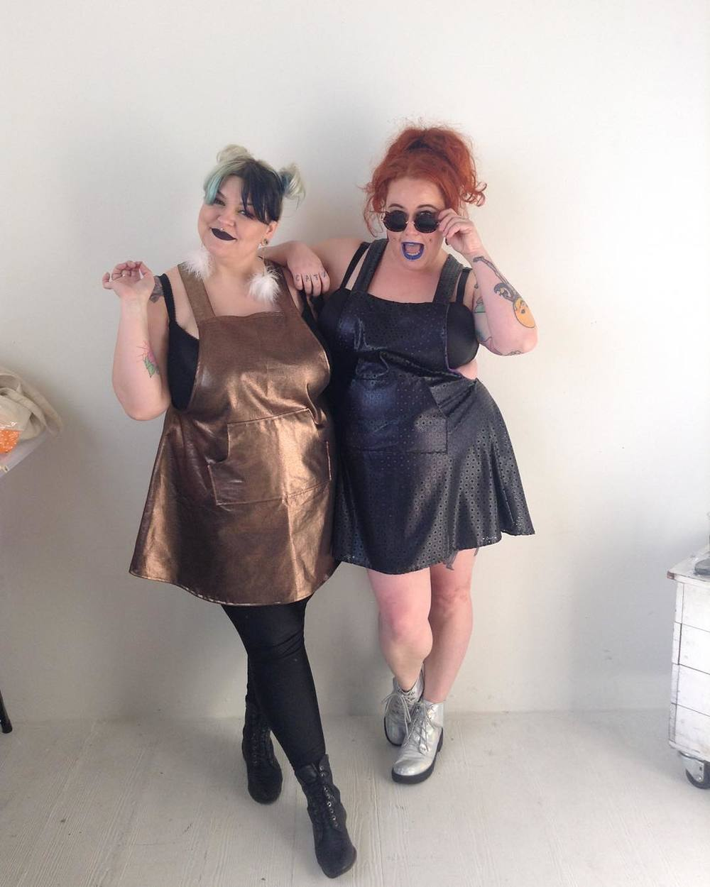 Margot Meanie and Kobi Jae, twinning in Copper Union's  Alexa Jumper ! (Photo via Margot)