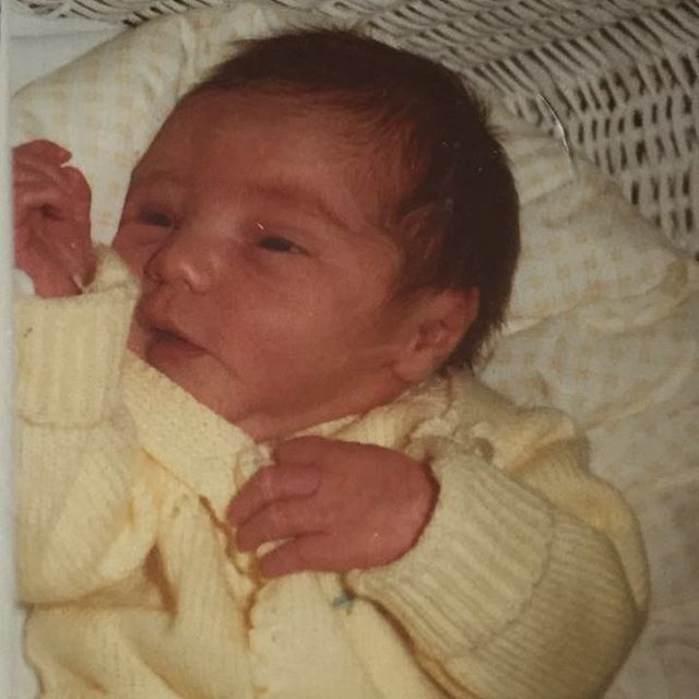 My mom sent me a picture of me the day I was born.