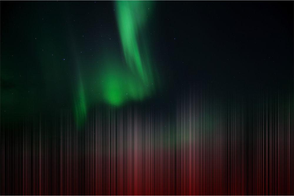 aurora borealis, trucks on highway
