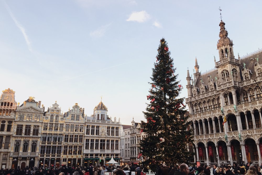 Grand-Place de Bruxelles, Belgium during Christmas time - December 2016