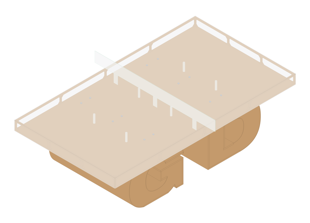 Isometric drawing of the table