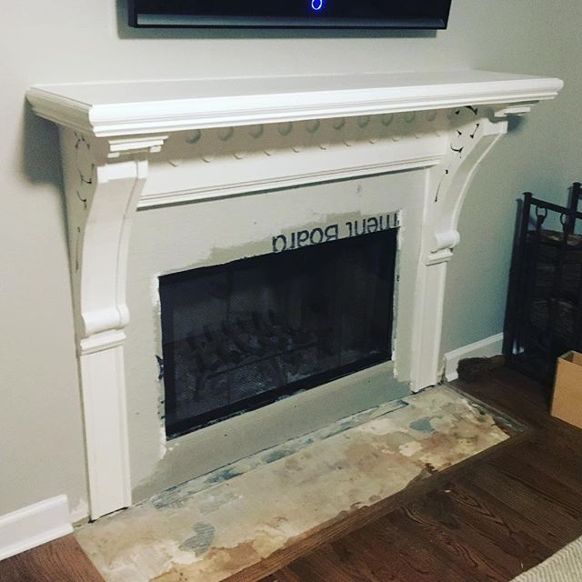 Mantlepiece restoration and installation is complete! Now it's time for the tile guys to get to work before the holidays!