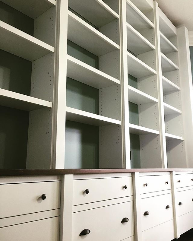 "What a doozy! Shortly wrapping up this wall unit for a great client in Grant Park. 13' long x 11' tall, with 4 1/2"" columns with a stepped detail. Walnut-finished countertop. Next up, 4-piece crown moldings and 10"" baseboards."