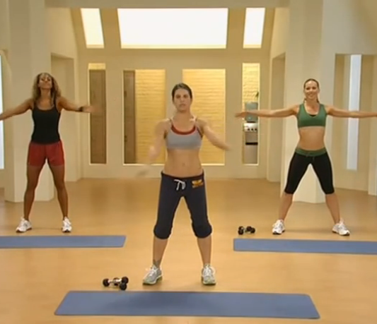Jillian Michaels, center, has arms in real life, but even if she didn't, she would kick your ass.