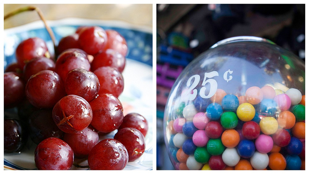 Grapes and gumballs.