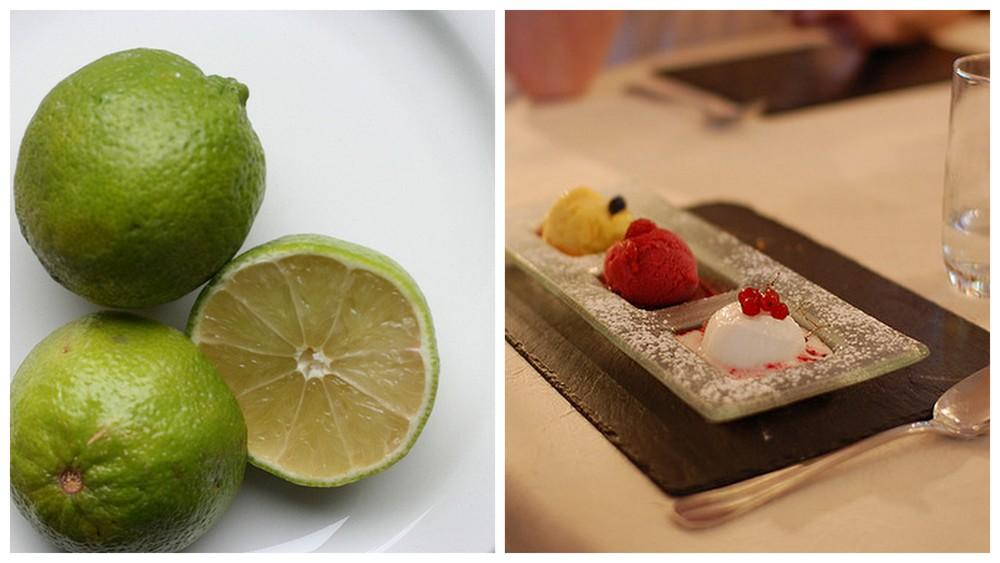 Limes and sorbet.