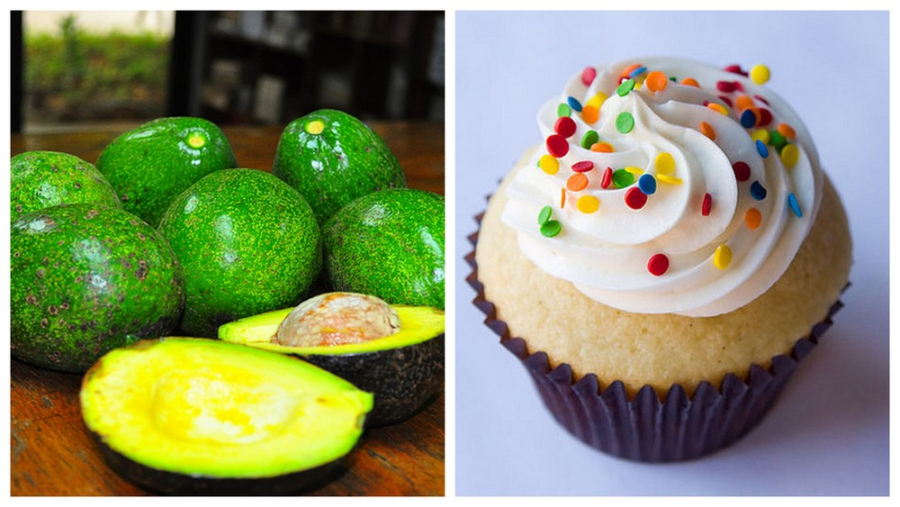 Avocado and cupcake.
