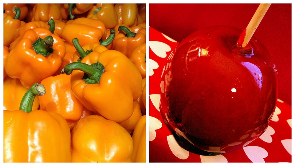Bell pepper and candy apple.