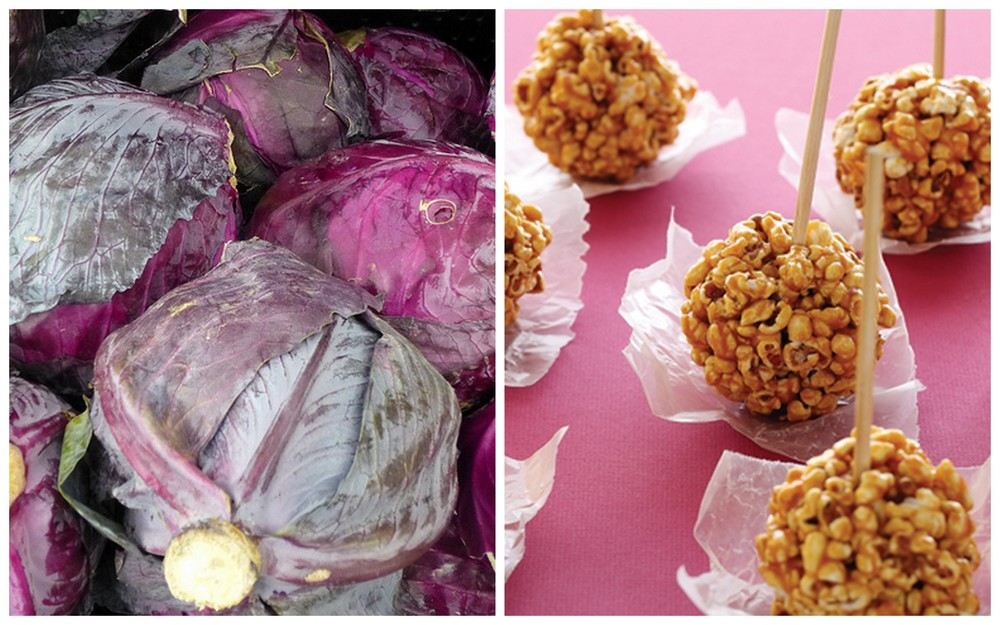 Red cabbage and popcorn ball.