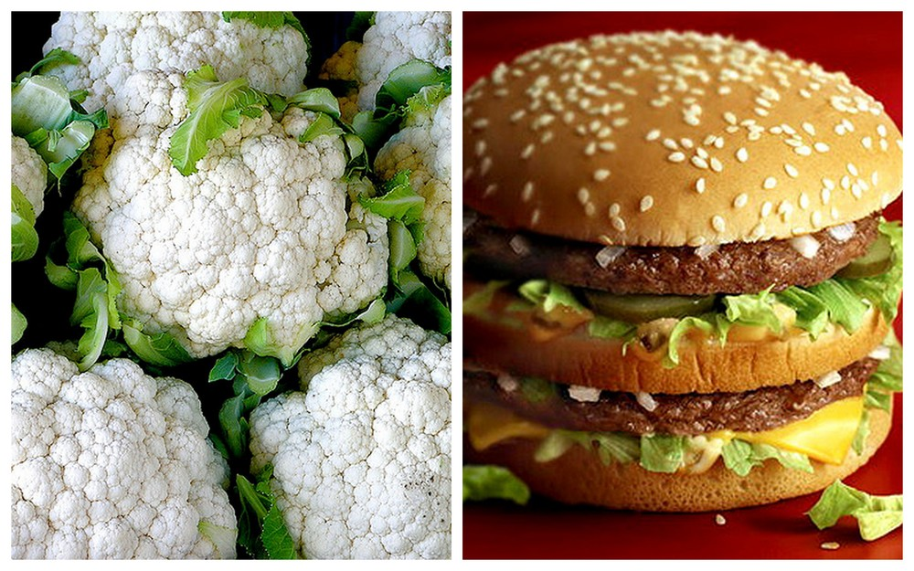Cauliflower and Big Mac meal.