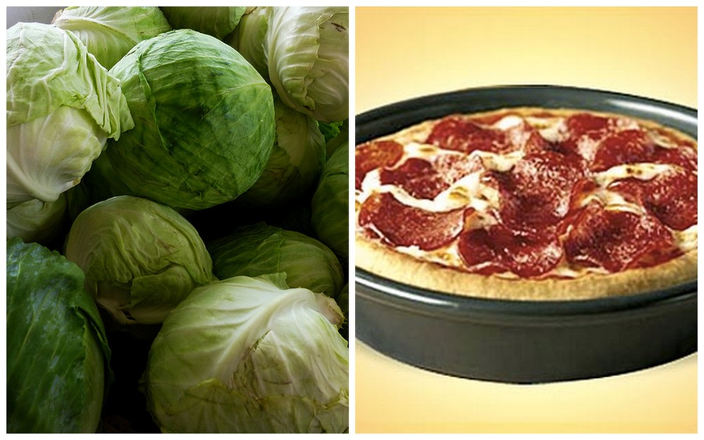Cabbage and Pizza Hut personal pan pizza.
