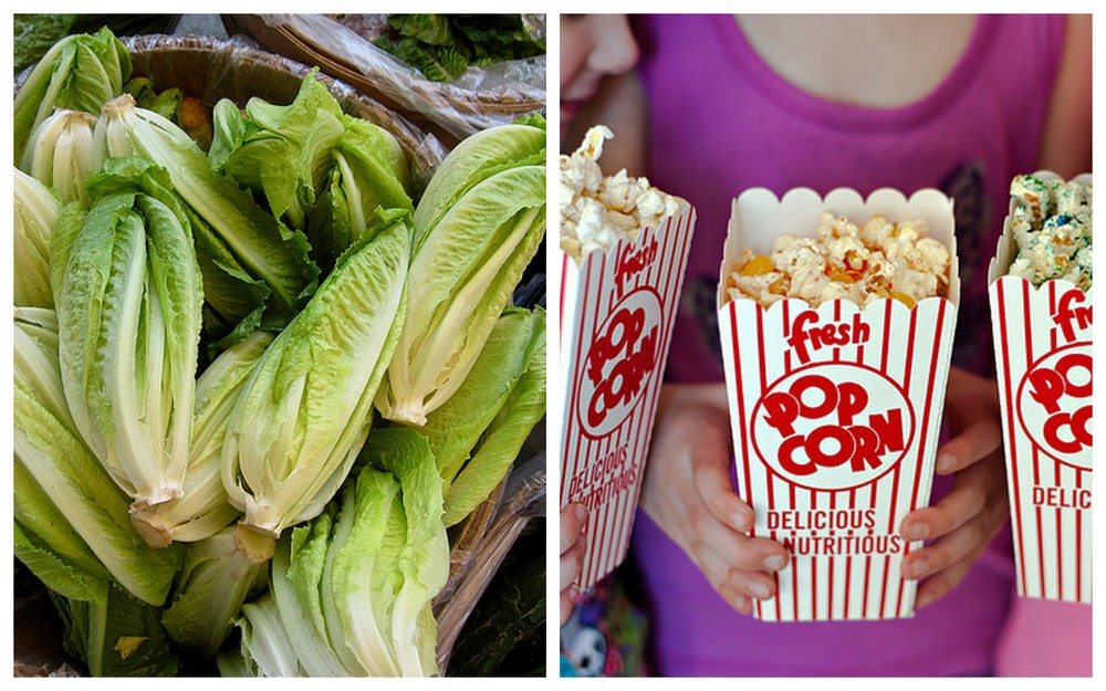 Romaine lettuce and medium movie popcorn.