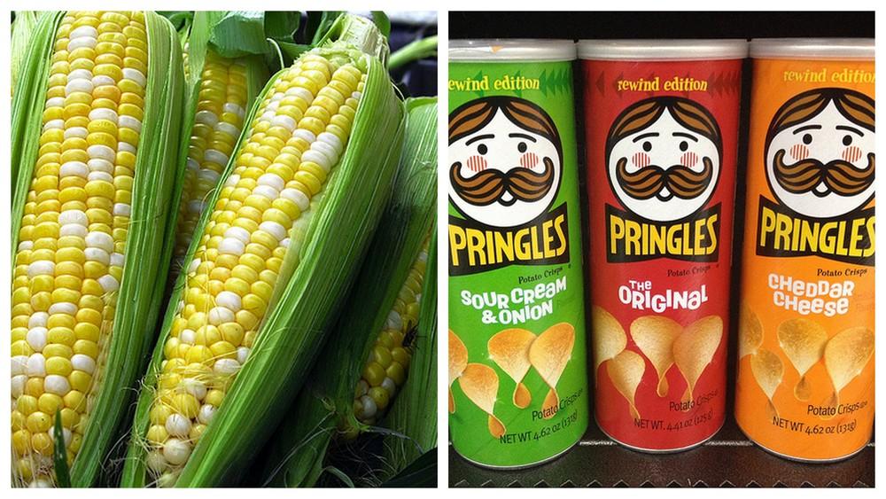 Corn and Pringles.