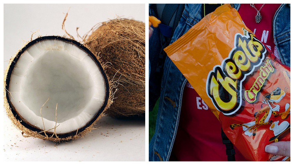 Coconut and bag of Cheetos.