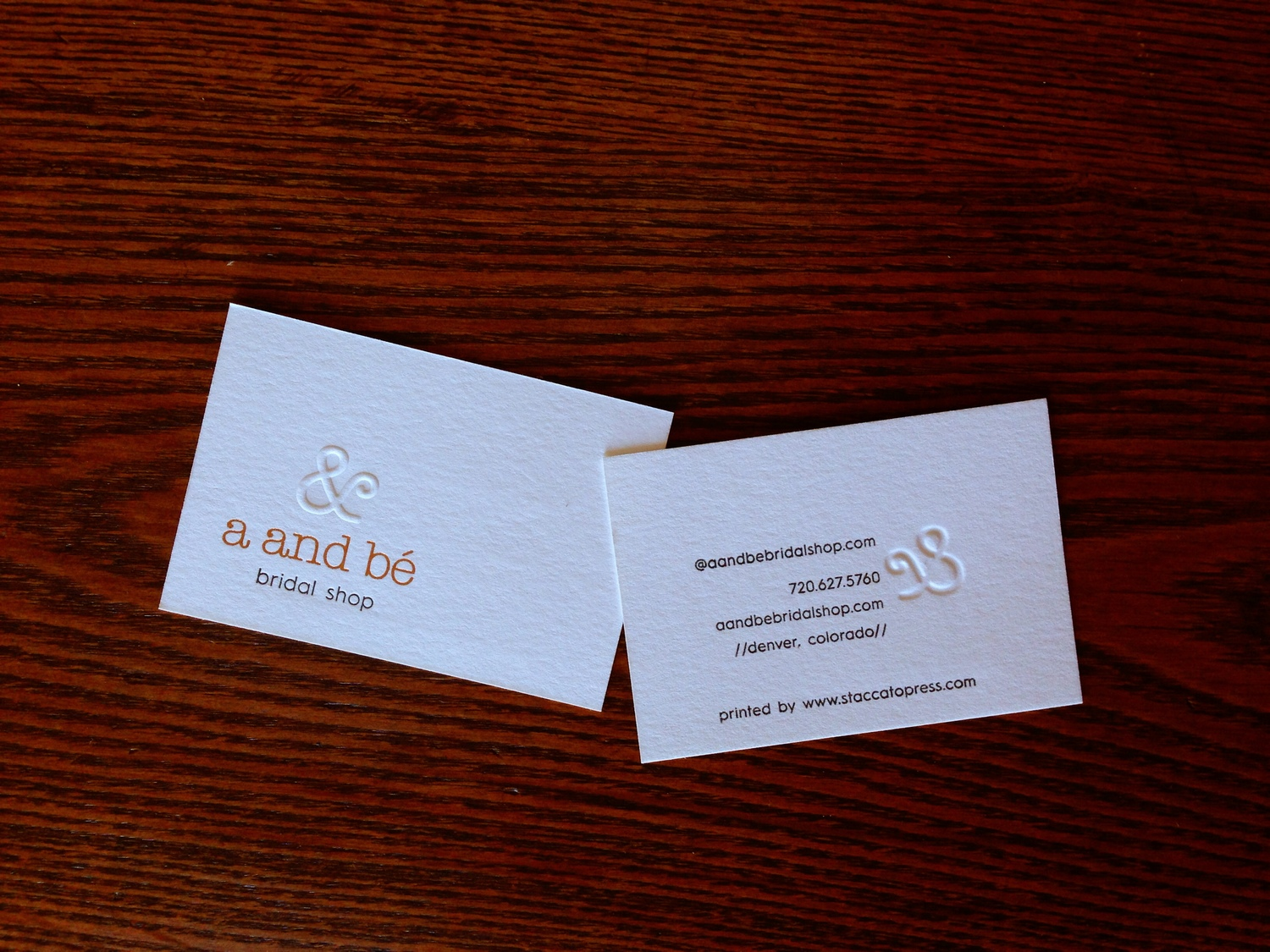 Business cards for abe bridal shop staccato press we just completed a super fun and challenging project for one of our favorite wedding vendors abe bridal shop the business cards for the shop are a reheart Gallery