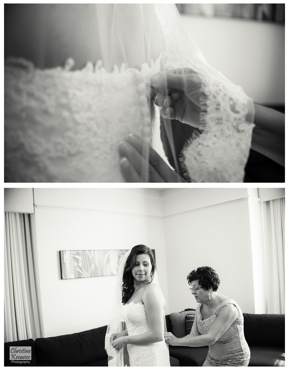 It's such a special moment between a bride and her mother while getting dressed