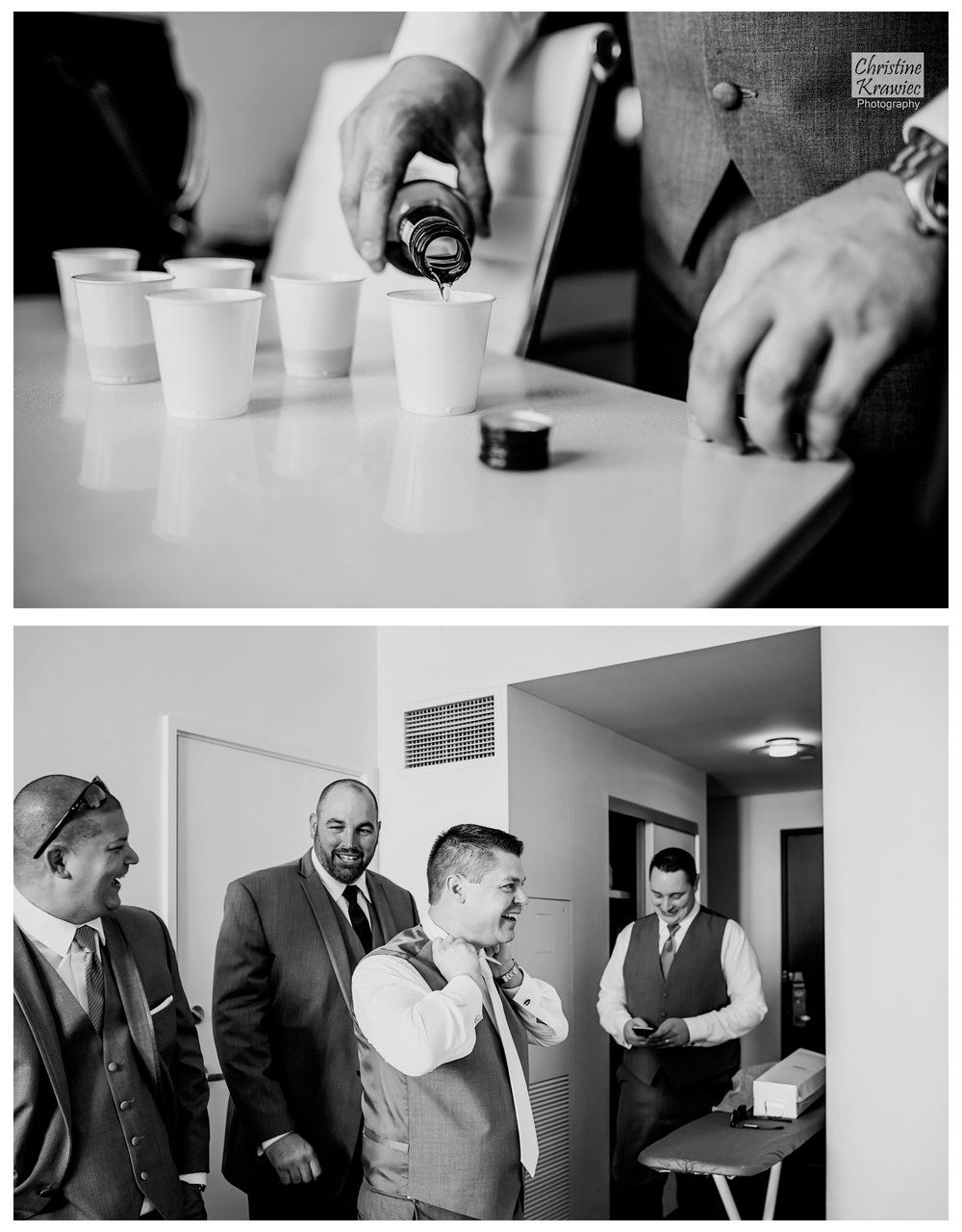 Groomsmen always know how to help a groom kick back while getting ready :)