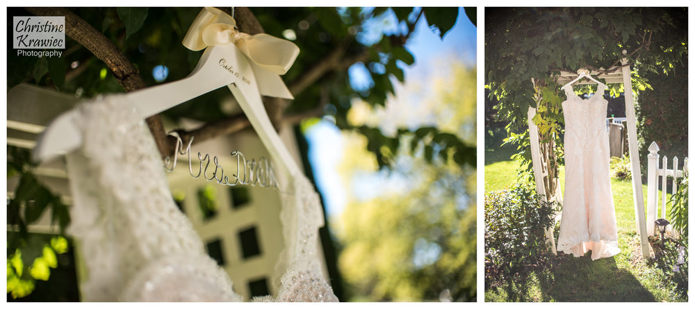 Look at this gorgeous lace wedding gown hanging in the bride's parent's backyard
