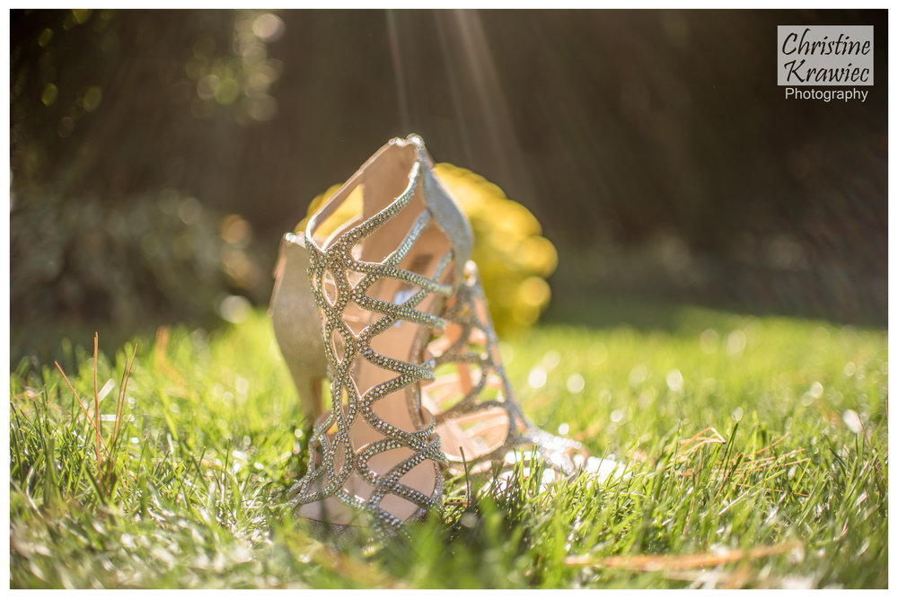 Jessica's stunning crystal wedding shoes glimmering in the sunlight!