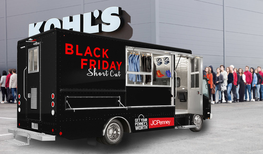 QUICK AND CONVENIENT: BLACK FRIDAY TRUCK TO SET UP SHOP OUTSIDE COMPETITORS' STORE FRONTS WITH HIGH-DEMAND ITEMS ON SALE