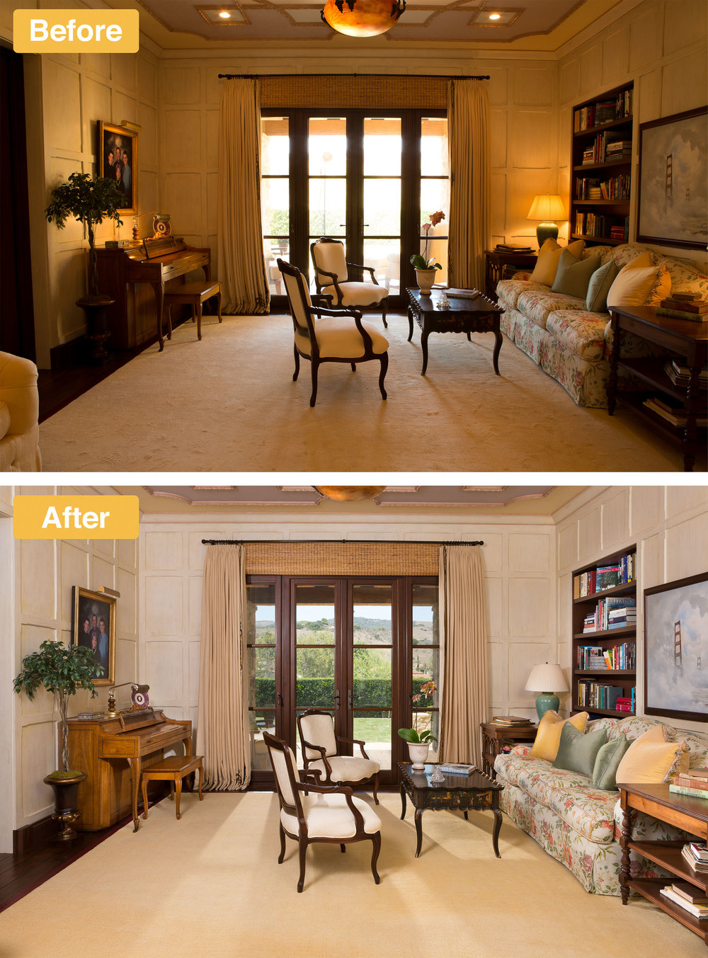 Before and after real estate photo