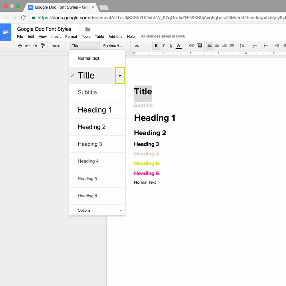 Step 3 in setting up font styles in Google Docs.