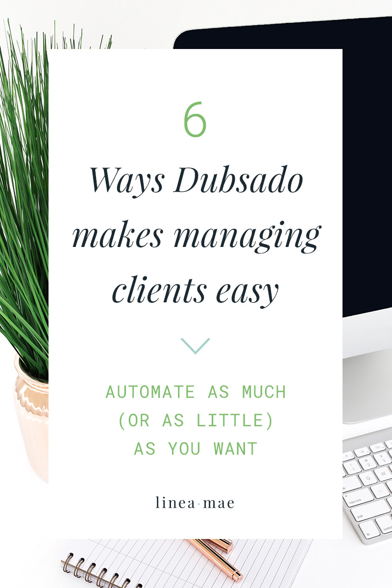 If you're struggling to keep up with all the emails, scheduling, contracts, invoicing, questionnaires, plus individual project work… it's time you start thinking about using a client management tool. Managing your client processes and projects is made so much easier with Dubsado. Automating CMS is the perfect way to make sure your clients get everything they need without you even having to think about it!