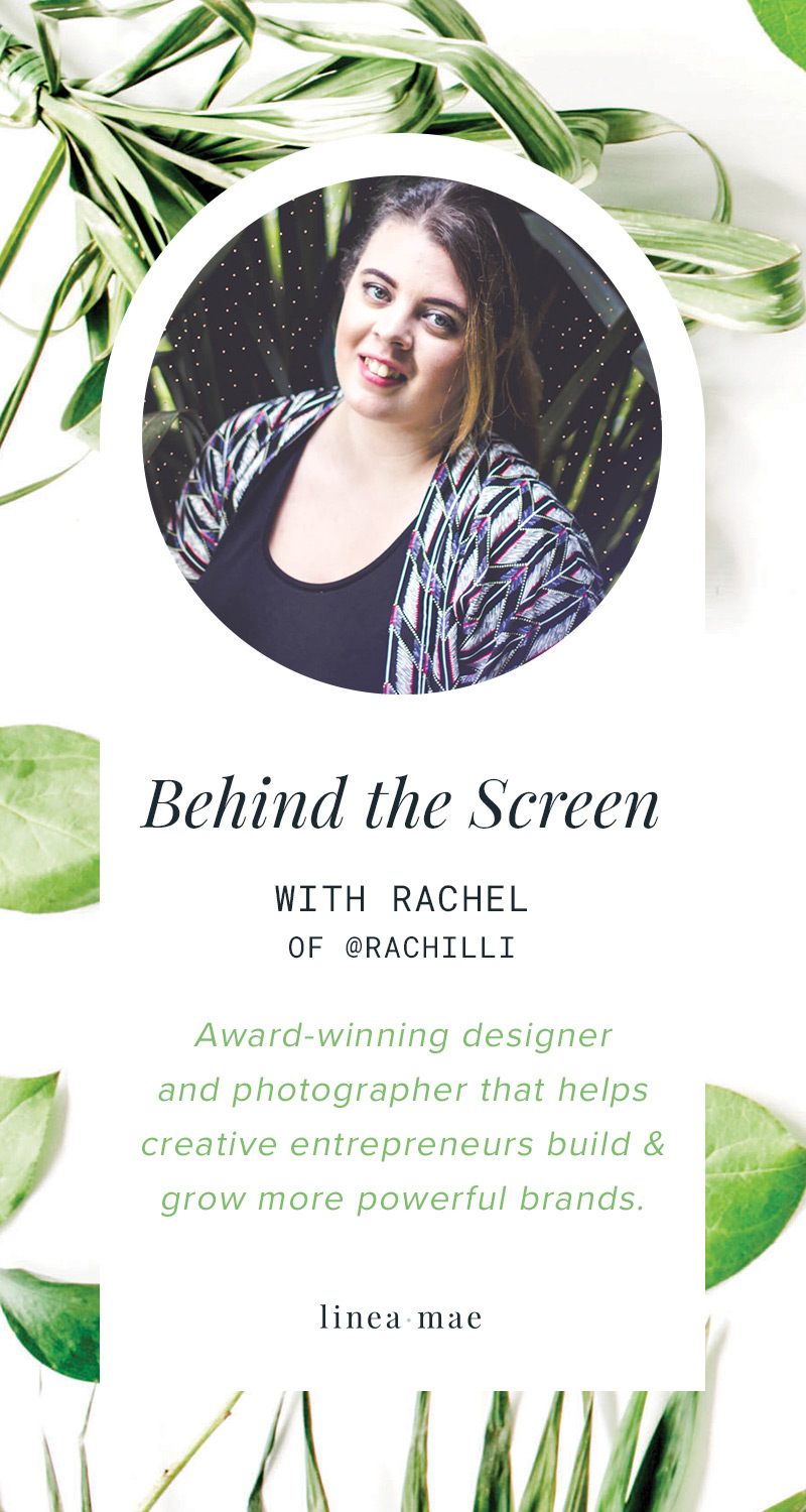Behind the screen is a weekly blog series giving you a look into the life of online business owners. Click through to learn more about Rachel from Rachilli Web & Design Studio. She talks about what balance means to her as a business owner and how she stays motivates... among many other things. Click through to read the interview.
