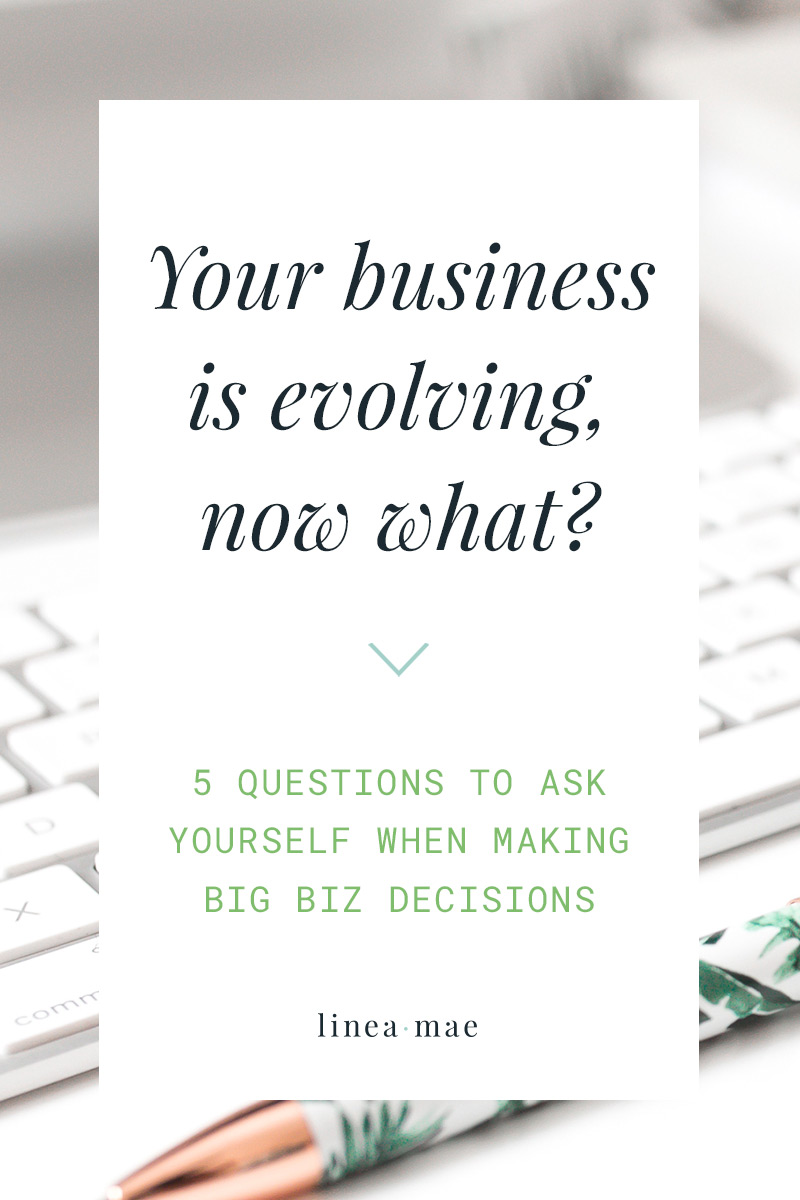You've been in a business for a while and now you're facing growth. Whether you're facing the first phase of small business evolution or you're going through yet another growth spurt... ask yourself these 5 questions when your business is growing and you don't know what to do. These 5 questions are exactly what you need in order to know if you're in the right track towards building a business that you love. They cover everything from making smart business moves to making sure that your core values are being thought of in your decision making process. This creative business advice isn't for people who only have a hustle mentality. Get back in touch with why you started your business in the first place. Make your business growth work for your personal life too.