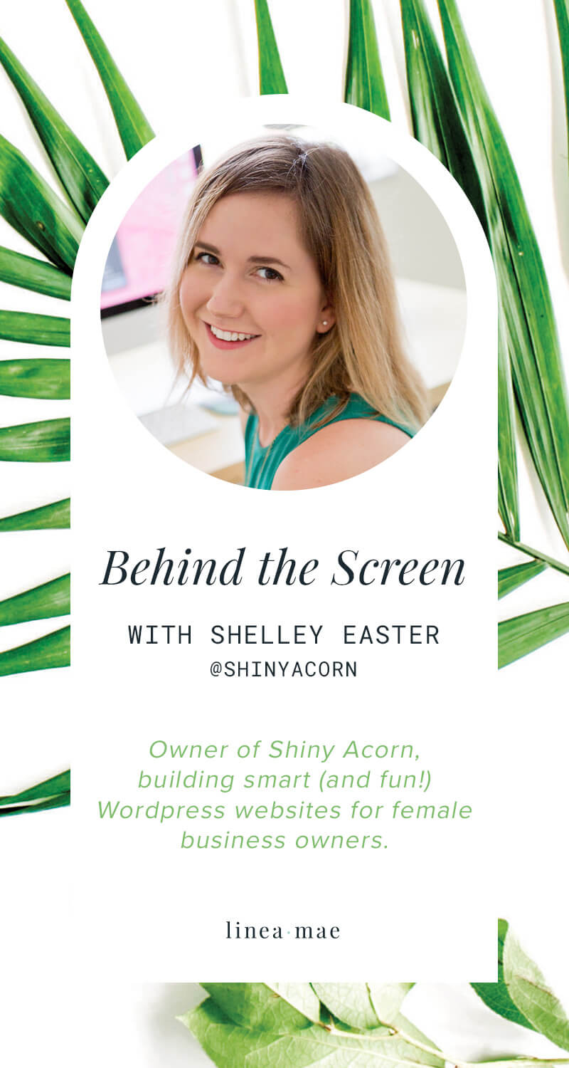 In this series, Behind the Screen, we take a look beyond the business. No pitches, no selling, just sharing. Click through to read this business owner interview and learn more about Shelley - a mompreneur and business owner creating smart and fun websites for other women entrepreneurs.