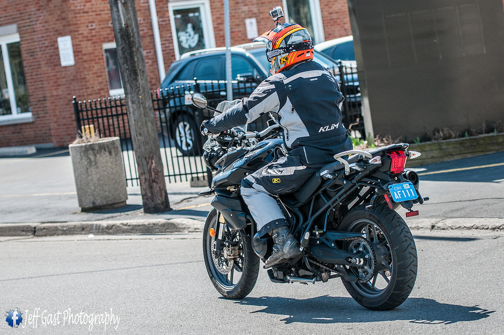 Taking off on the Triumph Tiger 800. Thanks Rob! - Photo by Jeff Gast