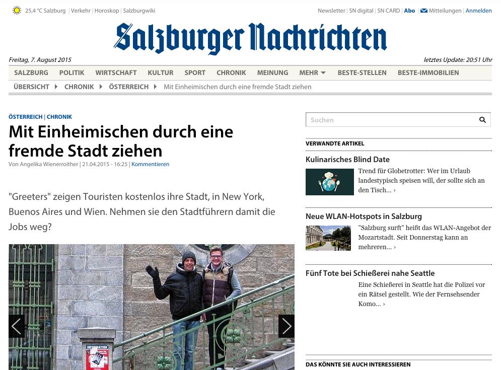 Screenshot des Artikels in den Salzburger Nachrichten
