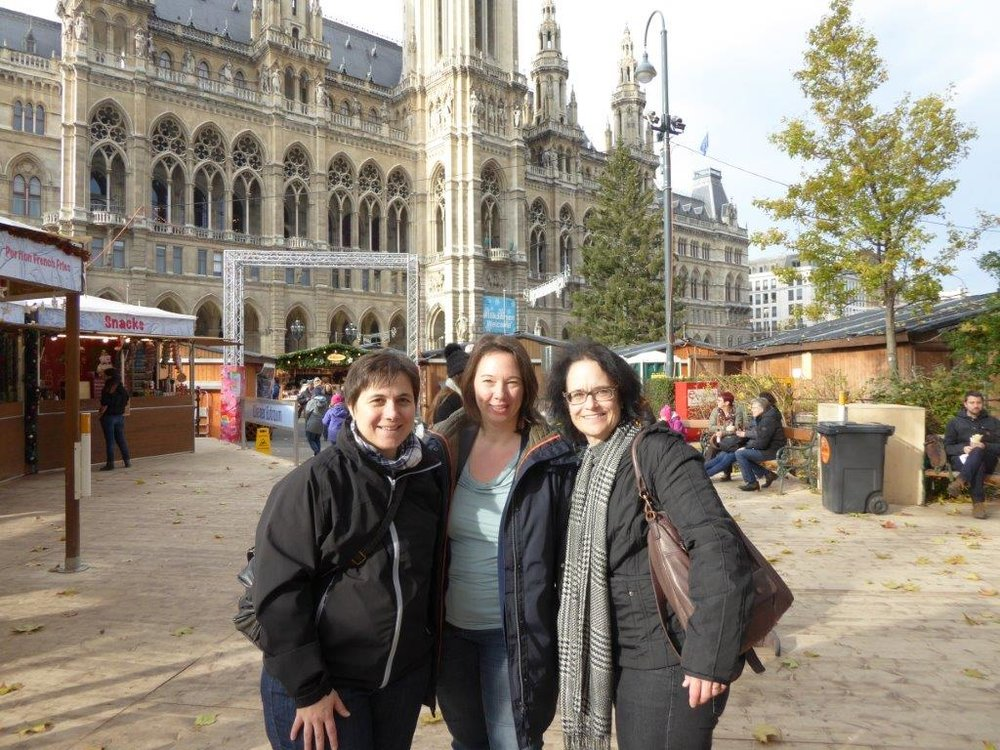 In front of the grand city hall in Vienna